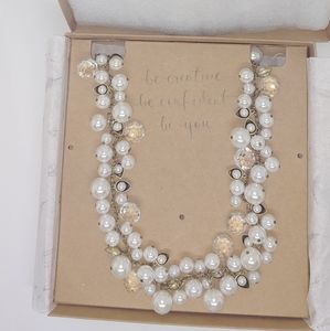 Pearl and Crystal long necklace